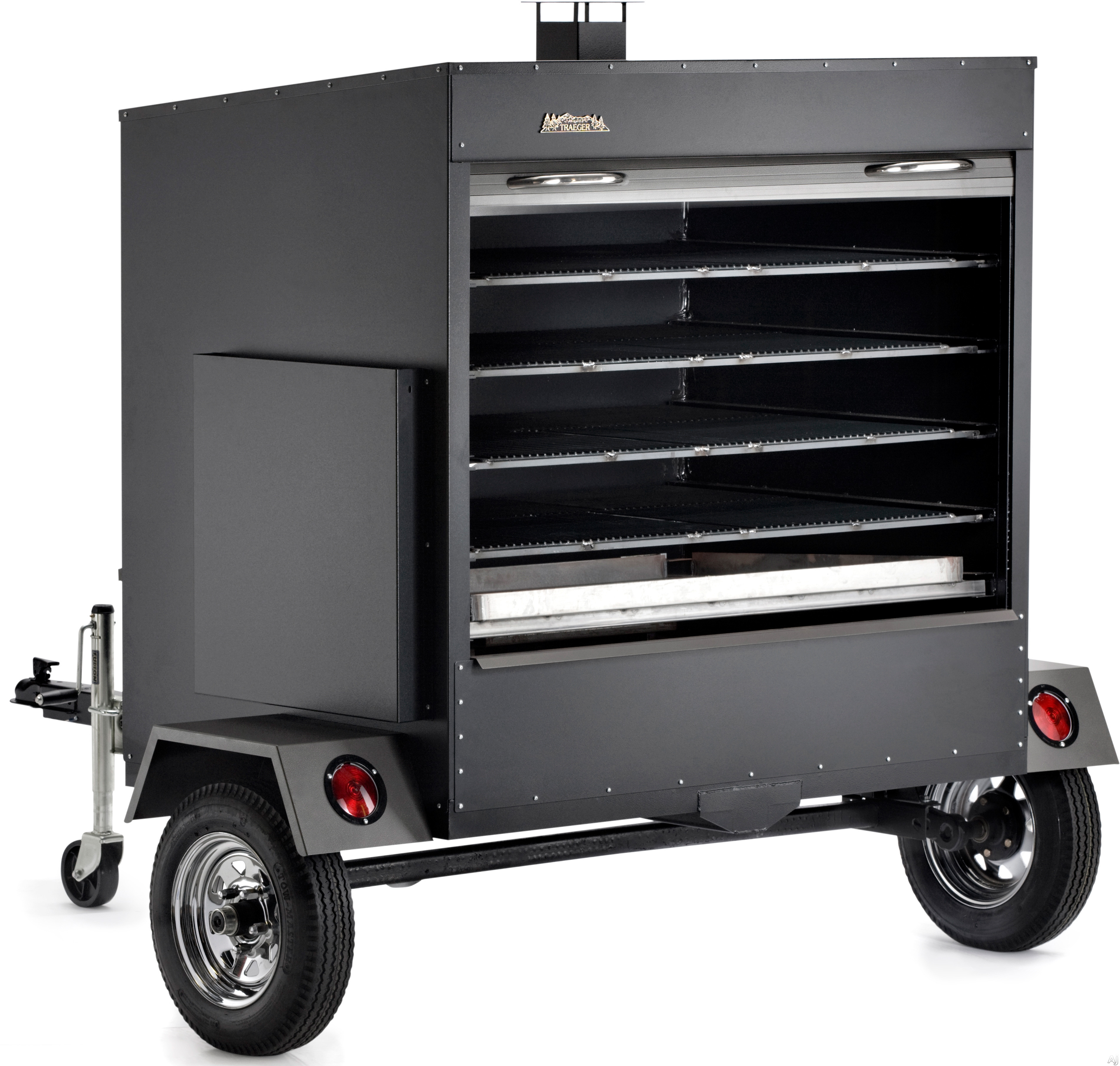 click for Full Info on this Traeger COM200 Large Commercial Trailer Wood Pellet Grill with 7 260 sq in Grilling Area  Loads Up To 224 Chicken Quarters  Digital Thermostat and Runs Off Standard 110V Outlet