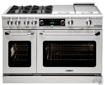 Capital Connoisseurian Series COB482BG2SSL 48 Inch Pro-Style Dual Fuel Range with 4 25,000 BTU Open Burners, 5.4 cu. ft. Main Oven, Broiler Burner, Thermo-Griddle, Dual Kitchen Timers, Motorized Rotisserie and Moist Bake Option: Stainless Steel, Liquid P