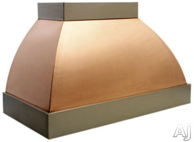 Copperworks Monterey Series JS436CHP38 36 Inch Wall Mount Range Hood with 600 CFM Internal Blower, Heavy Copper Texture and Polished Finish: 38 in. High for 9 ft. Ceiling