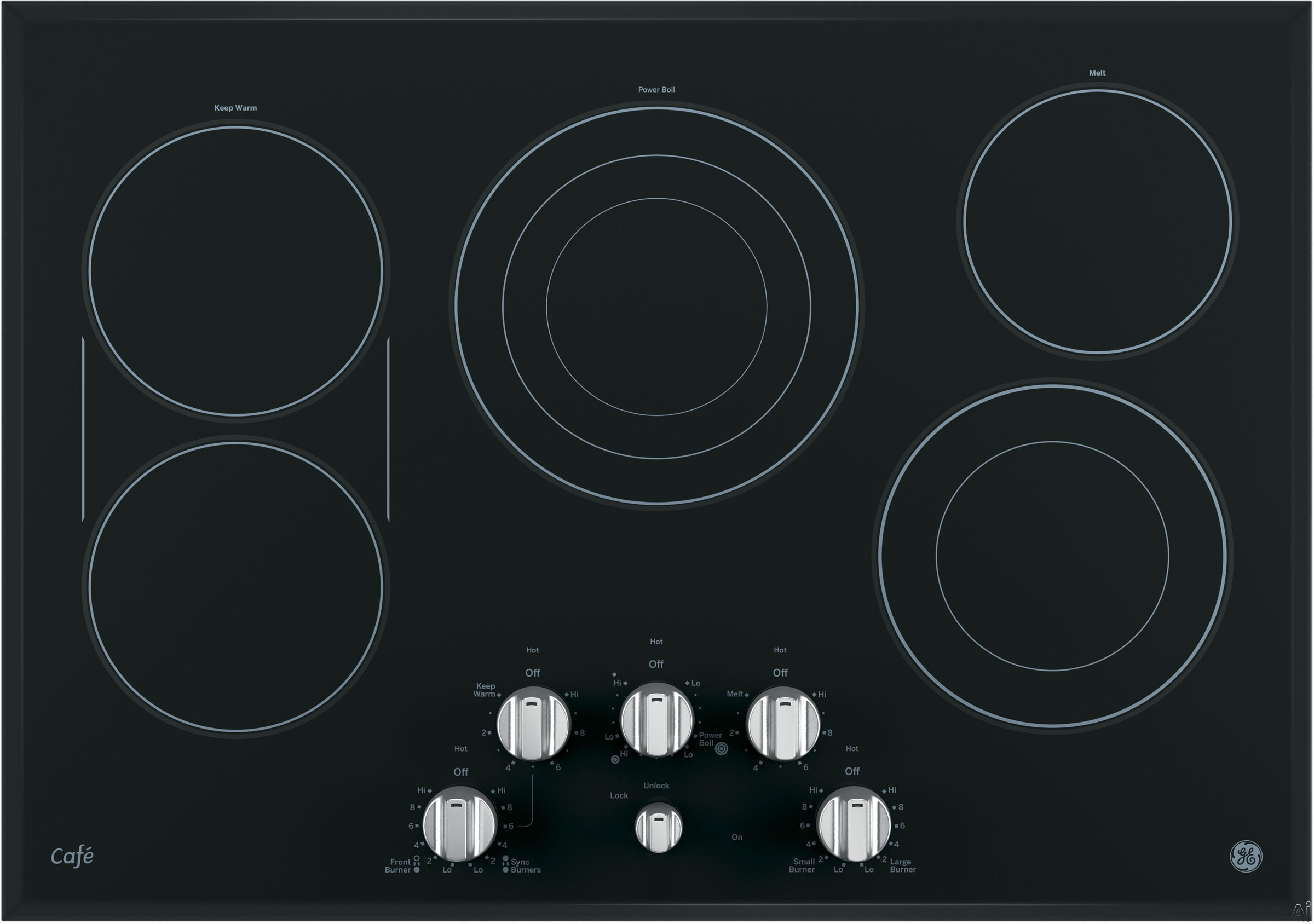 GE Cafe Series CP9530SJSS 30 Inch Smoothtop Electric Cooktop with 5 Cooking Zones, SyncBurners, Griddle, Blue/Red Touch Sensor Controls, Control Lock, All-Off Feature, Hot Surface Indicator Light and