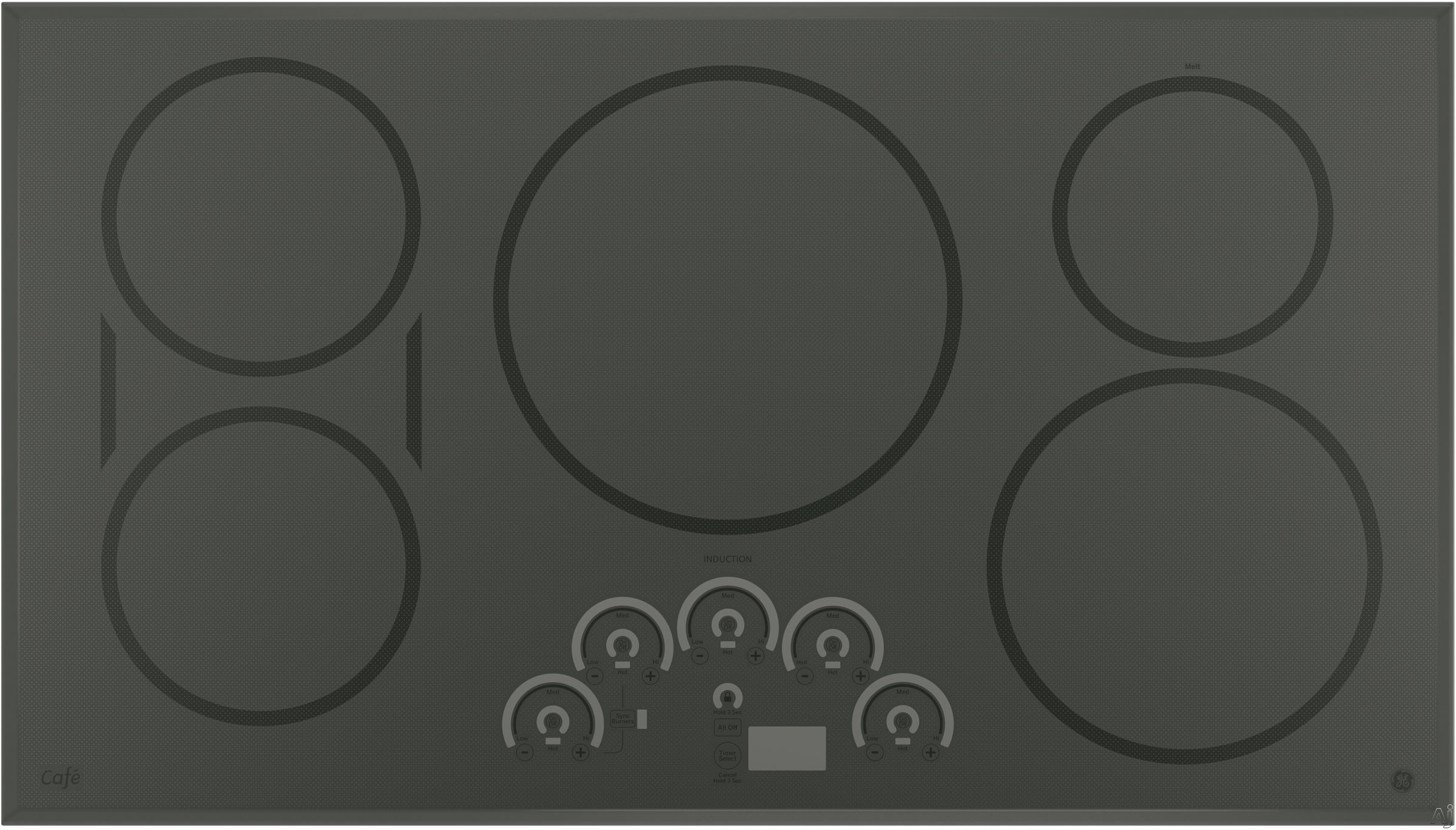 GE Cafe Series CHP9536SJSS 36 Inch Induction Cooktop with 3,700W Induction Element, Glide Touch Controls, SyncBurners, Multi-Element Timer, 5 Cooking Zones, Griddle, Control Lock, Ceramic Glass Surfac