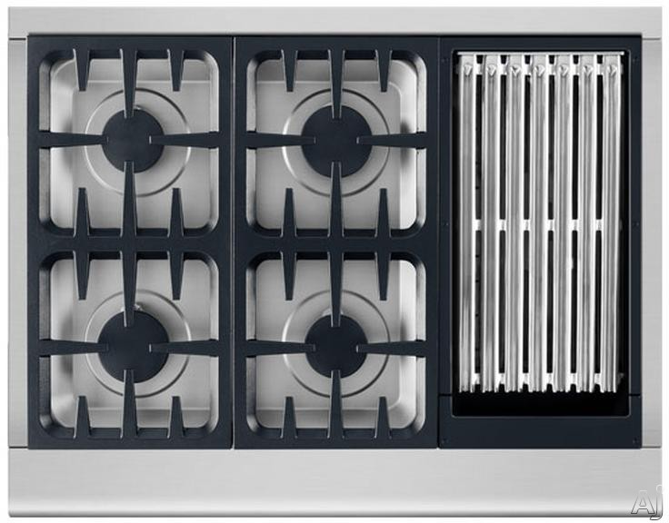 DCS Professional Series CPV364G 36 Inch Pro-Style Gas Rangetop with 4 Sealed Burners, 12,000 BTU Grill, Grease Management System, 18,000-BTU Griddle, Continuous Grates and Illuminated Knobs