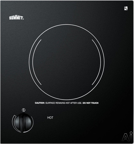 Summit CR1115 12 Inch Smoothtop Electric Cooktop with 1,200 Watt Radiant Element, Black Ceramic Glass Surface, Push-to-Turn Knob and Residual Heat Light