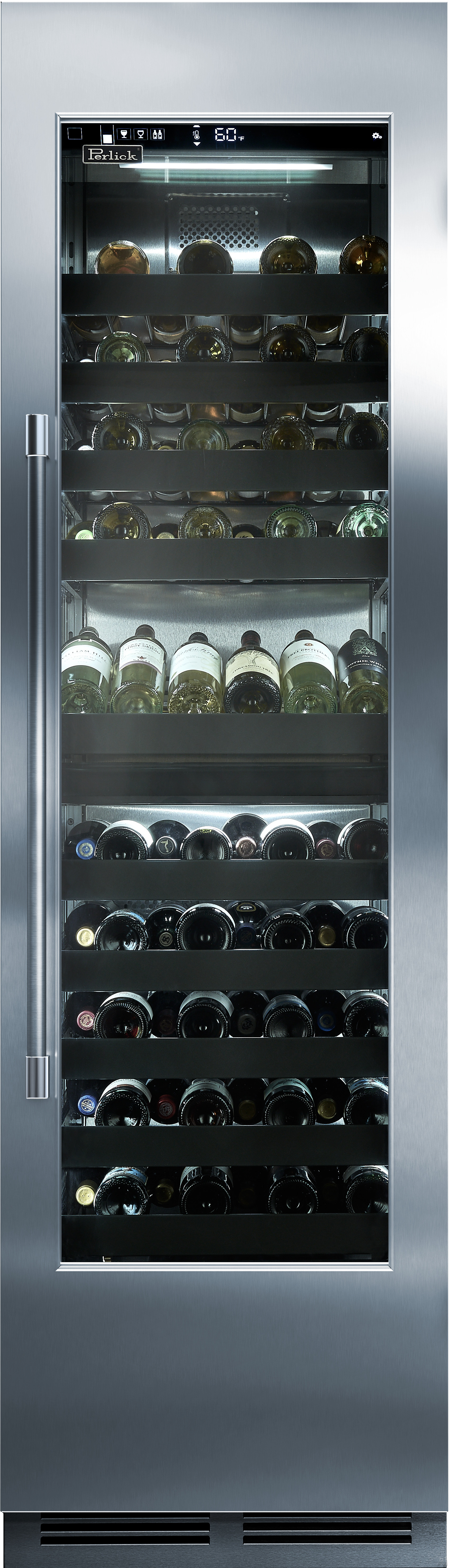 Perlick CR24D14L 24 Inch Wine Reserve with 86 Bottle Capacity, Dual Temperature Zones, Convertible Display Shelf, Touch-Screen Controls, Glass Pane Ready and Theatre Lighting: Left Hinge