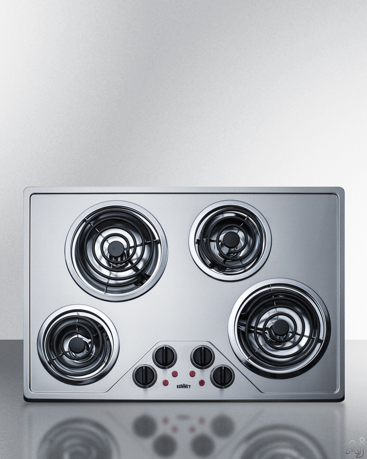 Summit CR430SS 30 Inch Electric Cooktop with 4 Coil Burners, Removable Chrome Drip Pans, Push-to-Turn Knobs, Upfront Controls, Indicator Lights and ADA Compliant