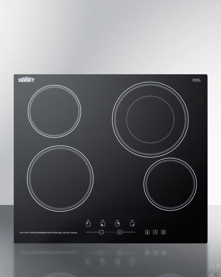 Summit CR4B23T 24 Inch Smoothtop Electric Cooktop with Dual Cooking Zone, Schott Glass Surface, 9 Power Levels, 2200W Burner, Automatic Shutoff, Timer, Built-In Installation, Child Lock and ADA Compliant