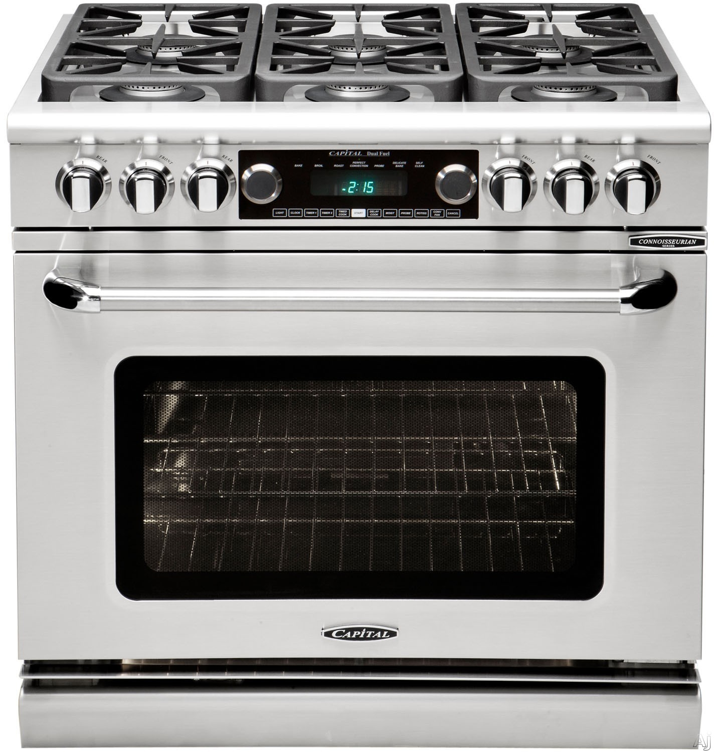 """Capital Connoisseurian Series CSB362B2L 36 Inch Pro-Style Dual Fuel Range with 4 Sealed Burners, 12"""""""" BBQ Grill, Dual Air-Flow Convection, Dual Kitchen Timers, Moto-Rotisâ""""¢ Rotisserie, Moist Bake Option and 5.4 cu. ft. Oven: Stainless Steel, Liquid Prop"""