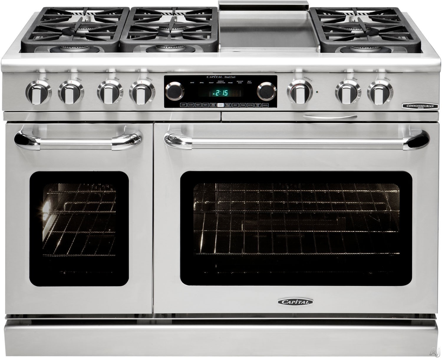 "Capital Connoisseurian Series CSB484G2 48 Inch Pro-Style Dual Fuel Range with 6 Sealed Burners ,12"""" Thermo-Griddle, Moto-Rotisâ""¢ Rotisserie, Dual Kitchen Timers, Meat Probe, Moist Bake Option, 5.4 cu. ft. Main Oven and 2.4 cu. ft. Seconday Oven"" CSB484"