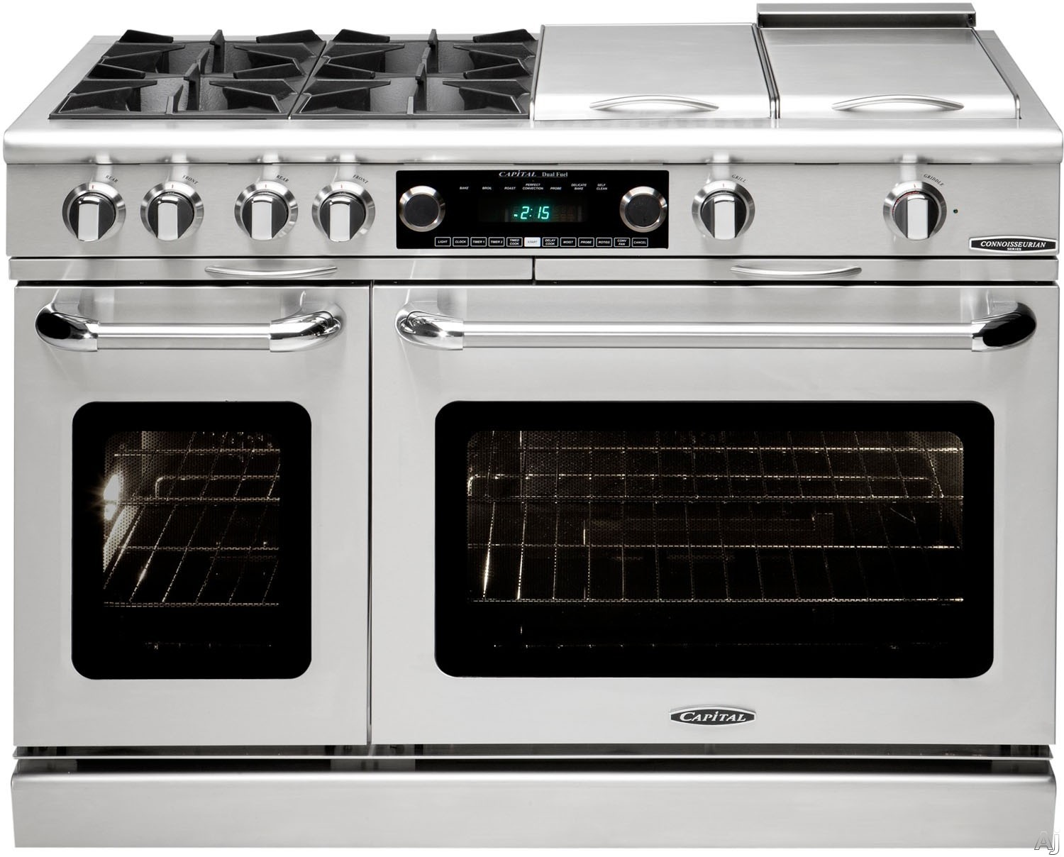 "Capital Connoisseurian Series CSB488 48 Inch Pro-Style Dual Fuel Range with 8 Sealed Burners, Dual Kitchen Timers, Moto-Rotisâ""¢ Rotisserie, Meat Probe, Dual Air-Flow Convection, Moist Bake Option, 5.4 cu. ft. Primary Oven and 2.4 cu. ft. Secondary Oven"