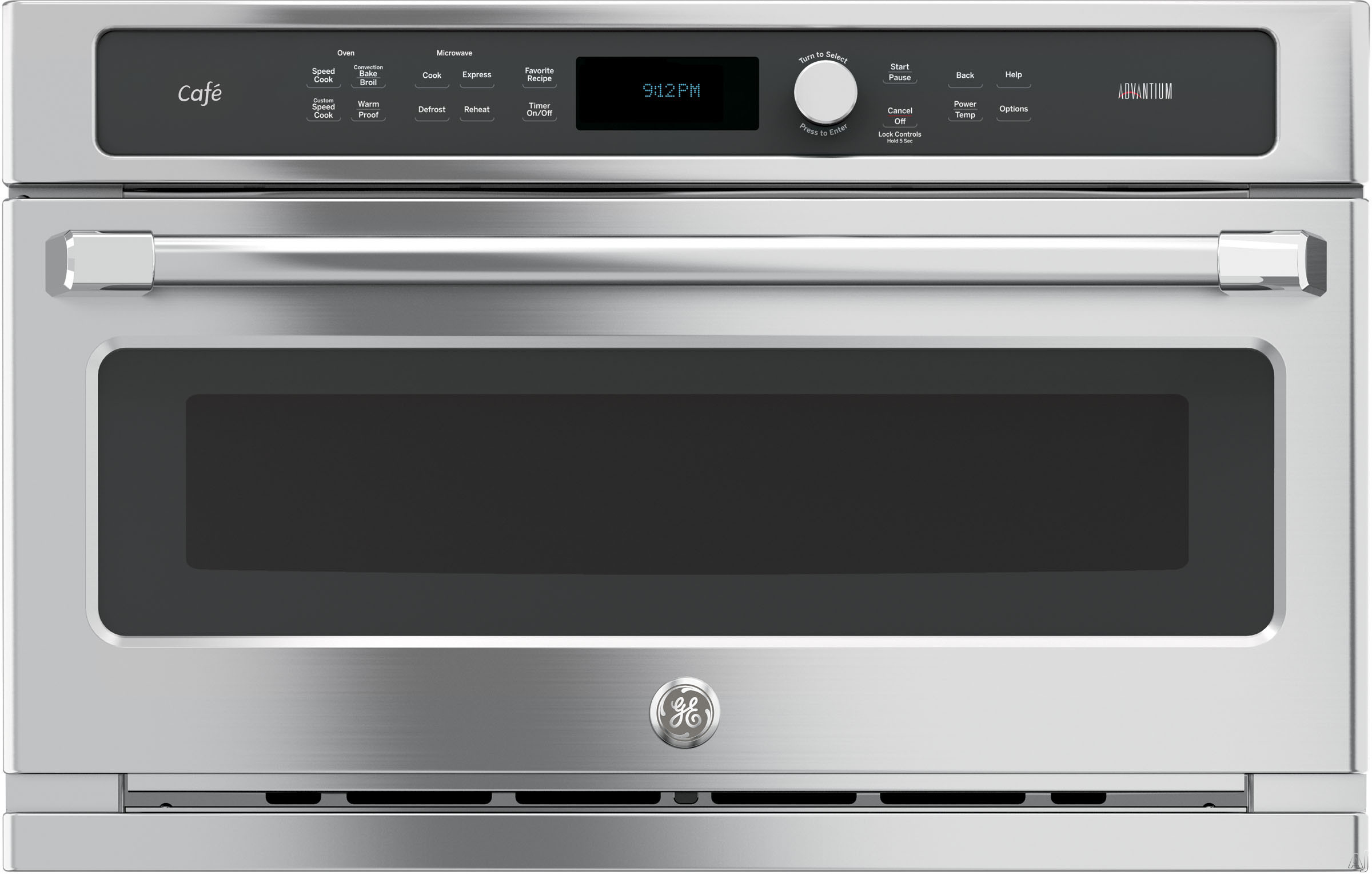 GE Cafe Series CSB9120SJSS 30 Inch Single Electric Speed Oven with 1.7 cu. ft. Advantium Capacity, Halogen Heat, 175 Pre-Programmed Menu Selections, Custom Recipe Saver and Under Counter Installation