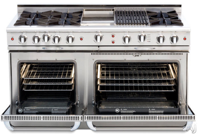 Capital Culinarian Series CSGR604B4SSLP 60 Inch Pro-Style Gas Range with 8 Open Burners, 23,000 BTU, 4.6 cu. ft. Primary Oven, 7 Oven Modes, Moto-Rotis Motorized Rotisserie System and 12 Inch Hybrid Radiant Grill: Stainless Steel, Liquid Propane CSGR604B