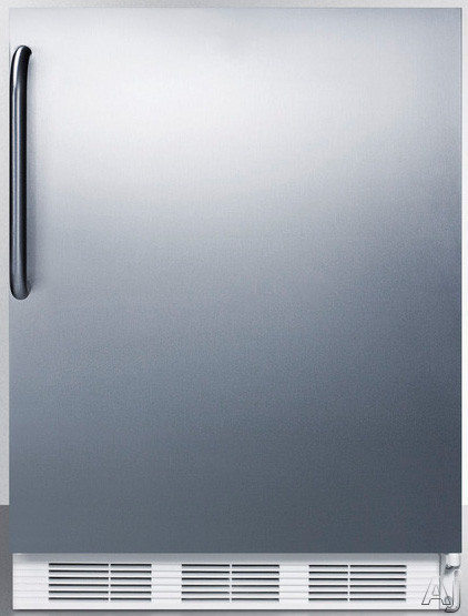 AccuCold CT66JBISSTBADA 24 Inch Undercounter Refrigerator with 5.1 cu. ft. Capacity, Adjustable Wire Shelves, Door Storage, Dual Evaporator, Freezer Compartment and ADA Compliant: Stainless Steel, Towel Bar Handle