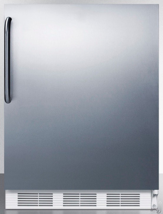 AccuCold CT66JBISSTB 24 Inch Undercounter Refrigerator with Dual Evaporator, Freezer, Adjustable Wire Shelves, 5.1 cu. ft. Capacity and Door Storage: Stainless Steel with Towel Bar Handle
