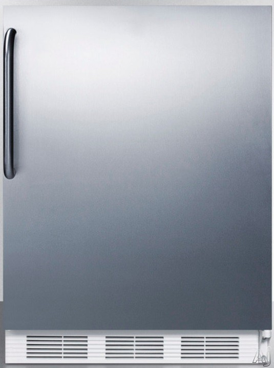 AccuCold CT66JCSS 24 Inch Undercounter Refrigerator with Dual Evaporator, Freezer, Adjustable Wire Shelves, 5.1 cu. ft. Capacity and Door Storage: Stainless Steel Cabinet