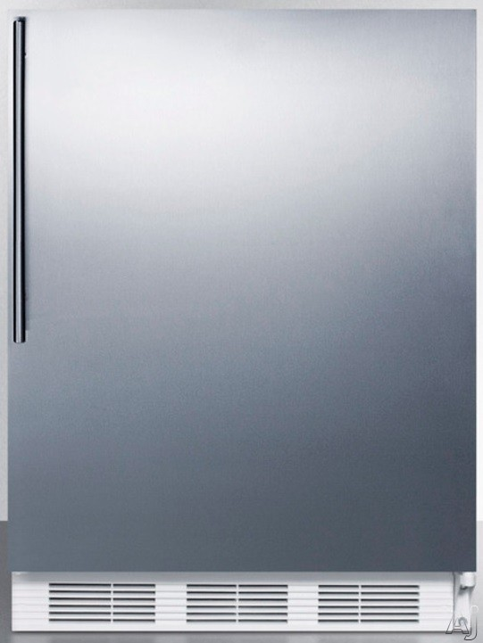 AccuCold CT66JSSHV 5.1 cu. ft. Compact Refrigerator with Adjustable Wire Shelves, Door Storage, Dual Evaporator and Freezer: Stainless Steel with Thin Handle