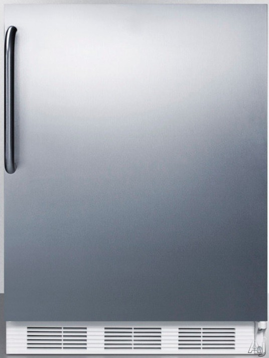 AccuCold CT66JSSTB 5.1 cu. ft. Compact Refrigerator with Adjustable Wire Shelves, Door Storage, Dual Evaporator and Freezer: Stainless Steel with Towel Bar Handle