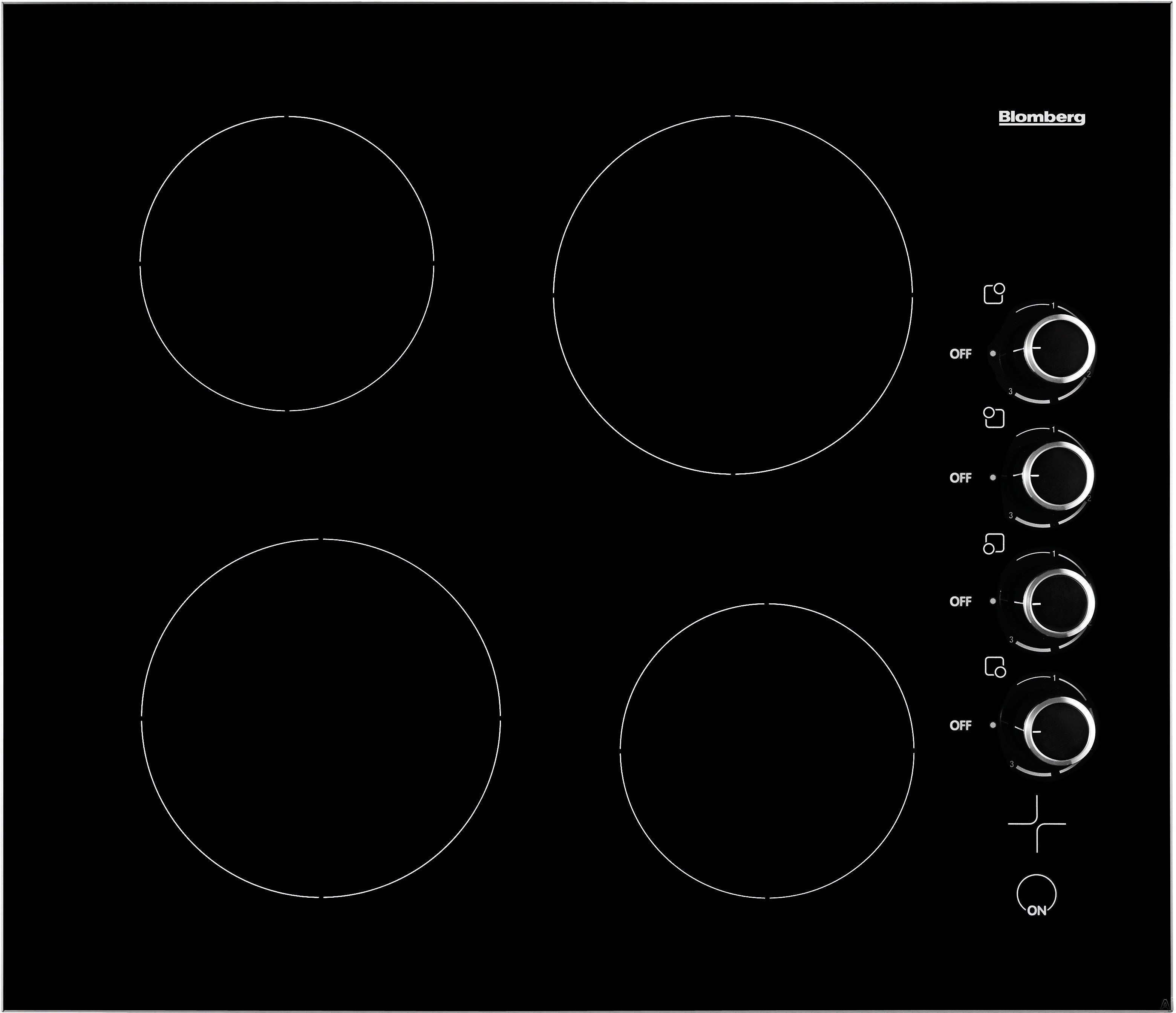 Blomberg CTE24402 24 Inch Smoothtop Electric Cooktop with 4 Vitroceramic Zones, 6 Cooking Levels Per Zone, Individual Residual-Heat Indicators, Hot-Surface Indicators and Knob Controls