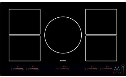 Blomberg CTI36510 36 Inch Induction Cooktop with Touch Control, Five Induction Cooking Zones, Power shared electronic slide touch control, Programmable timer, automatic pan recognition and frameless b