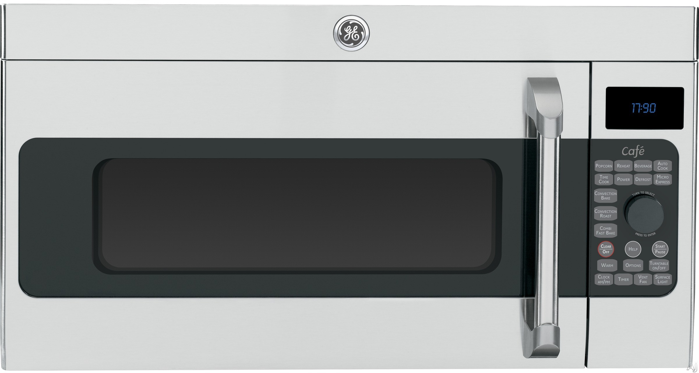 GE Cafe Series CVM1790SSSS 1.7 cu. ft. Over-the-Range Microwave Oven with 1,550 Convection Watts, 300 CFM Vortex Venting System, Sensor Cooking, Fast Bake, Warming Oven and Stainless Steel Interior