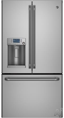 GE Cafe Series CYE22TSHSS 36 Inch French Door Refrigerator with LCD Screen with Photo Upload, External Ice and Water Dispenser with Hot Water, TwinChill Evaporators, 22.1 cu. ft. Capacity, Spillproof Glass Shelves, Gallon Door Storage, Precise Fill, Sabbath Mode and ENERGY STAR