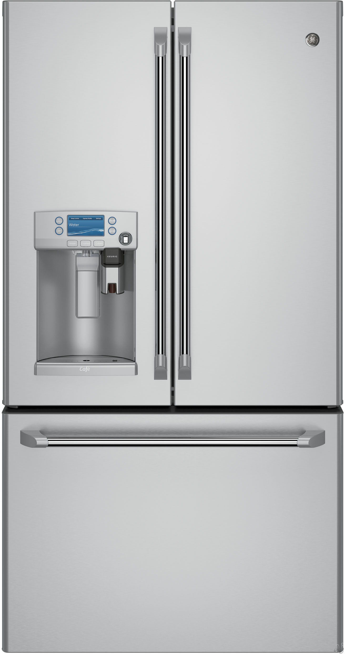 GE Cafe Series CFE28USHSS 36 Inch French Door Refrigerator with Keurig K-Cup® Coffee Brewing System, Precise Fill, Hot Water Scheduling, WiFi Connect, TwinChill™, Spillproof Shelving, Gallon