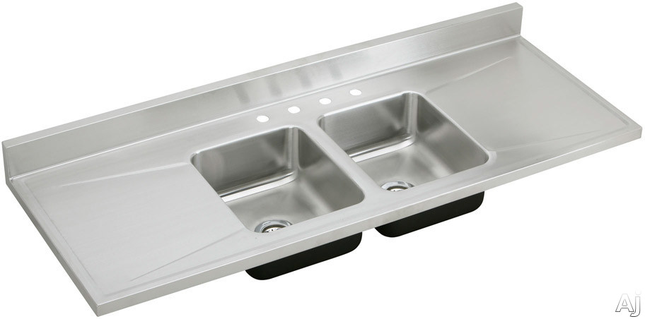 Elkay d66290 66 work top double bowl stainless steel sink for Stainless steel countertop with built in sink