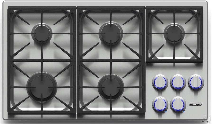 Dacor Discovery DYCT365GSNGH 36 Inch Gas Cooktop with 5 Sealed Burners, SimmerSear Burner, Dual Stacked Burners, Perma-Flame Technology, Illumina Burner Controls, PermaClean Finish and Continuous Grates: Stainless Steel, Natural Gas, High-Altitude