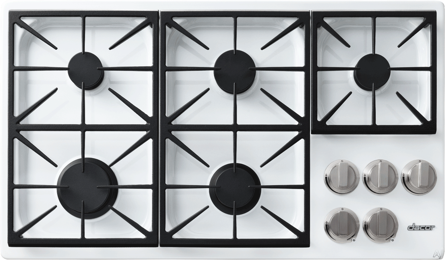 Dacor Discovery DYCT365GWNGH 36 Inch Gas Cooktop with 5 Sealed Burners, SimmerSear Burner, Dual Stacked Burners, Perma-Flame Technology, Illumina Burner Controls, PermaClean Finish and Continuous Grates: White, Natural Gas