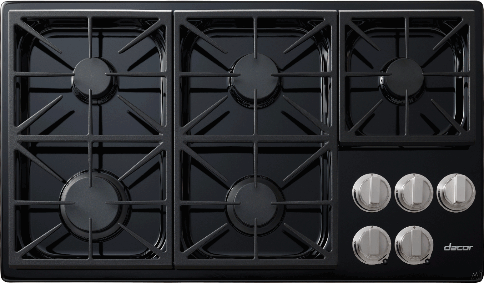 Dacor Discovery DYCT365GBLP 36 Inch Gas Cooktop with 5 Sealed Burners, SimmerSear Burner, Dual Stacked Burners, Perma-Flame Technology, Illumina Burner Controls, PermaClean Finish and Continuous Grates: Black, Liquid Propane