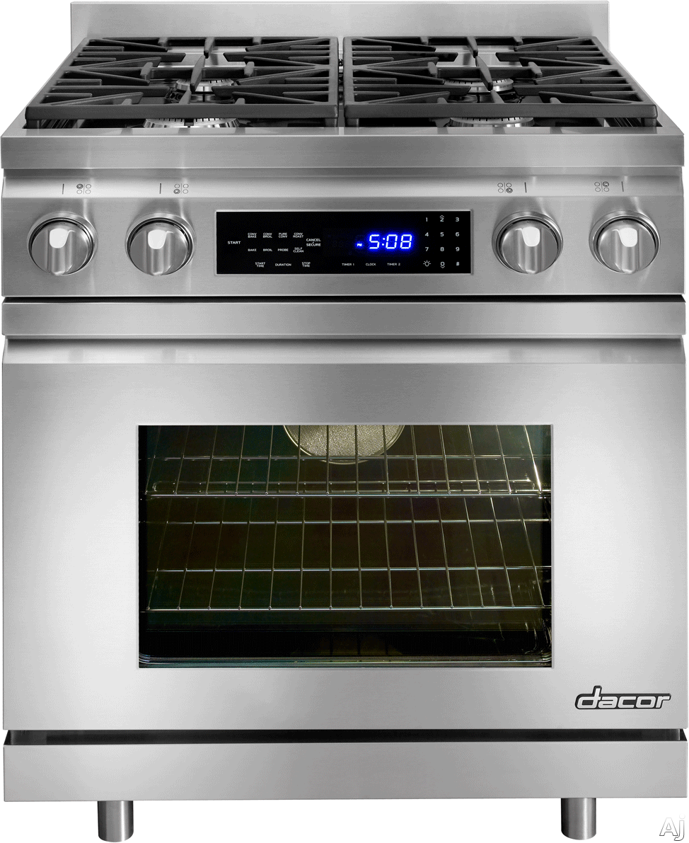 Dacor Distinctive DR30DNG 30 Inch Pro-Style Dual-Fuel Range with Convection, Meat Probe, Self-Clean, Touch Controls, 4 Sealed Burners, 3.9 cu. ft. Oven and Star-K Certified: Natural Gas