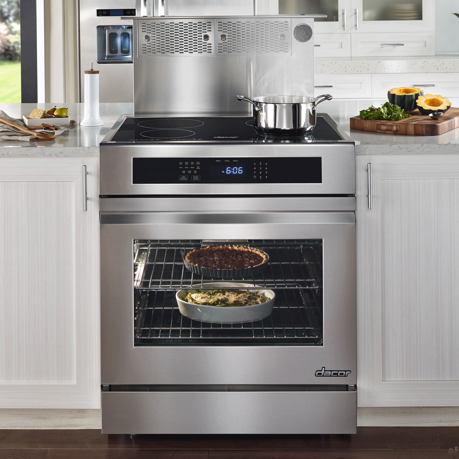 "Dacor Renaissance RNR30NIC 30"" Slide-in Electric Range with 4 Induction Elements, 2,800 W Element, 4.8 cu. ft. Convection Oven, Hidden Bake Element and GreenClean Self Clean Cycle: Epicure Handle, Color Match"