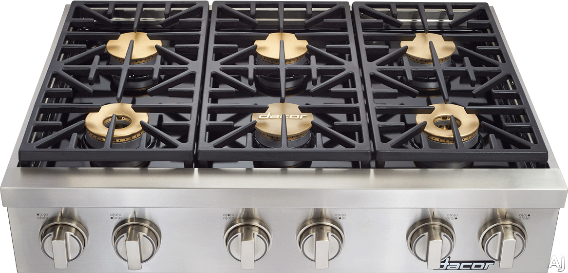 Dacor Discovery DYRTP366SNG 36 Inch Gas Rangetop with 6 Sealed Burners, 18,000 BTU, SmartFlame Technology, Illumina Burner Controls, Perma-Flame Technology and Continuous Grates: Natural Gas