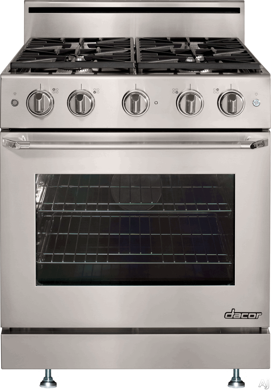 Dacor Distinctive DR30GSLPH 30 Inch Freestanding Gas Range with 4.8 cu. ft. Convection Oven, 4 Burners, Simmer Sear Burner, 2 Oven Racks, Illuminated Knob Controls and Epicure Handle: Liquid Propane/High Altitude