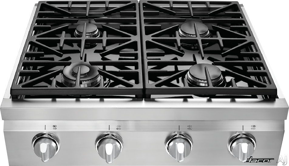 Dacor Distinctive DRT304 30 Inch Gas Rangetop with 4 Sealed Burners, Continuous Grates, Illumina Burner Controls, Porcelain Enameled Spill Basin and Stainless Steel Finish