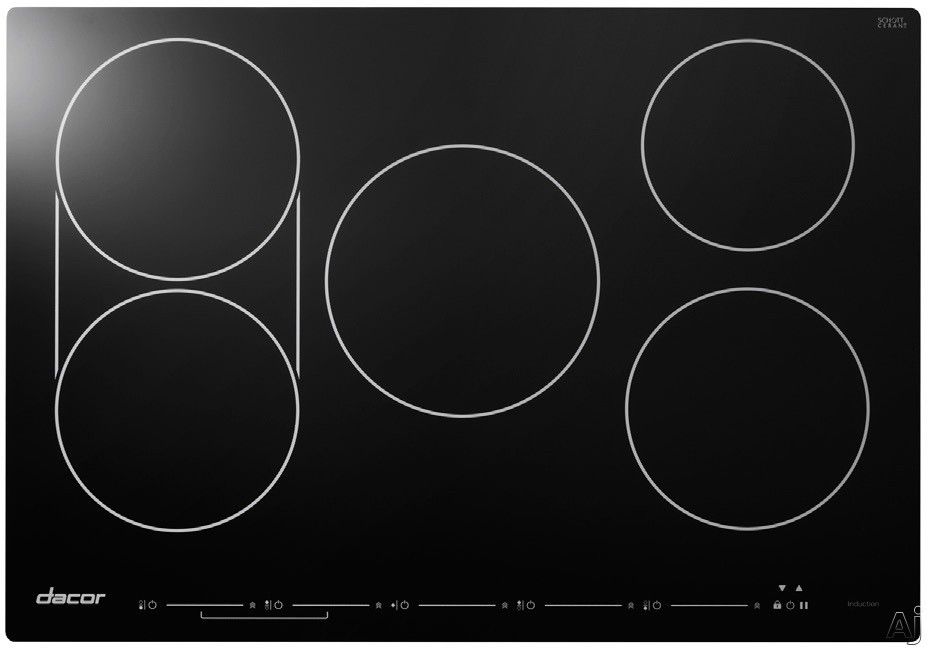 Dacor Discovery DYTT365NB 36 Inch Electric Induction Cooktop with 5 Cooking Zones, SenseTech Induction Technology, Power Boost, Pause Function, Bridge Function, Cooking Zone Identifiers, Alarm Timer, Downdraft Compatible, Child Lock and Touch-Sensitive E