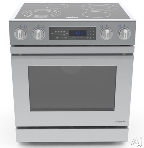 Dacor Distinctive DR30EI 30 Inch Slide-In Electric Range with 4.8 cu. ft. Convection Oven, 4 Burners, Digital Temperature Probe, 2 Oven Racks, Temperature Limiters, Illuminated Knob Controls and Delayed Cooking