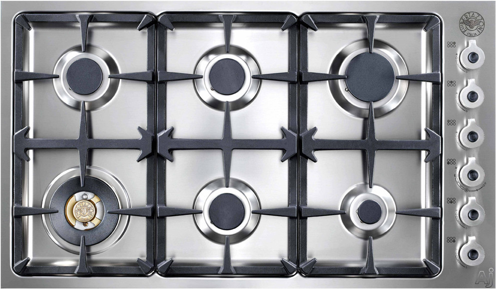 Bertazzoni Professional Series DB36600X 36 Inch Gas Cooktop with 6 Sealed Burners, 18,000 BTU Brass Power Burner, Continuous Grates and Electronic Ignition
