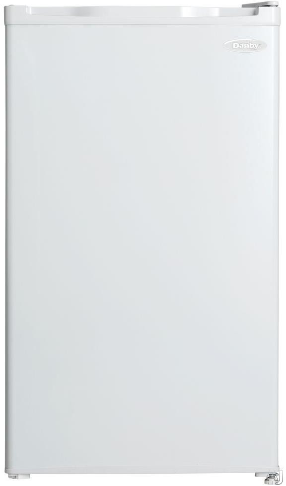 Danby DCR032C1WDB 3.2 cu. ft. Compact Refrigerator with Full Width Freezer Section, Clean Back Design, Wire Shelves, Reversible Door Hinge, CanStor, R600A Refri