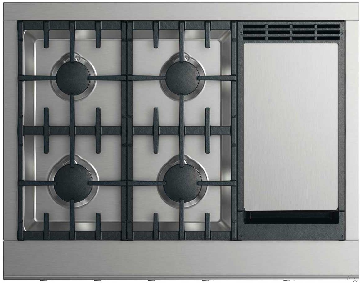 DCS CPV2364GDN 36 Inch Gas Cooktop with 4 Dual Flow Burners, Griddle, Simmer Setting on All Burners, Dishwasher Safe Continuous Grates and Illuminated Metal Knobs: Natural Gas