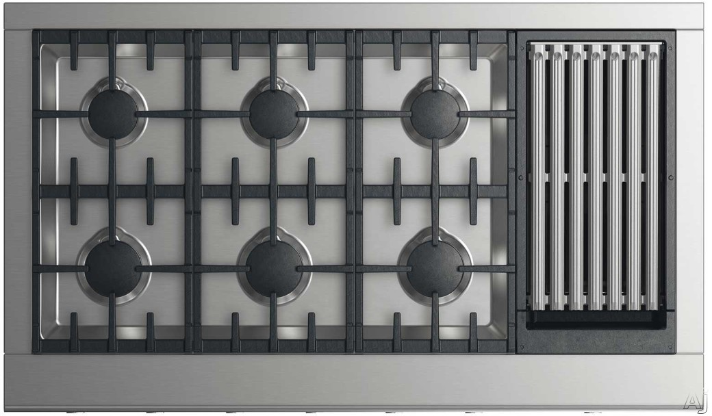 DCS CPV2486GL 48 Inch Gas Cooktop with 6 Sealed Dual Flow Burners, Grill, Grease Management System, Simmer Setting on All Burners, Dishwasher Safe Continuous Grates and Illuminated Metal Dials