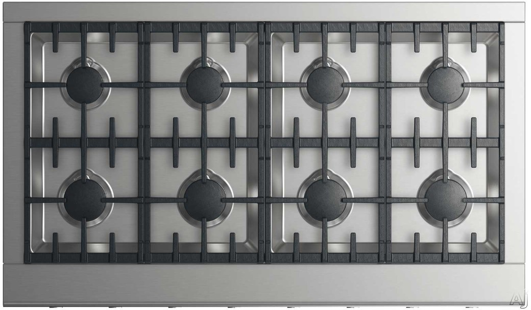 DCS CPV2488L 48 Inch Gas Cooktop with 8 Sealed Dual Flow Burners, Dishwasher Safe Continuous Grates, Simmer Setting on All Burners and Metal Illuminated Dials: Liquid Propane