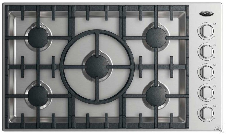 DCS CDV2365X 36 Inch Gas Cooktop with 5 Sealed Dual Flow Burners, Simmer Setting on All Burners, Dishwasher Safe Grates and Metal Knobs