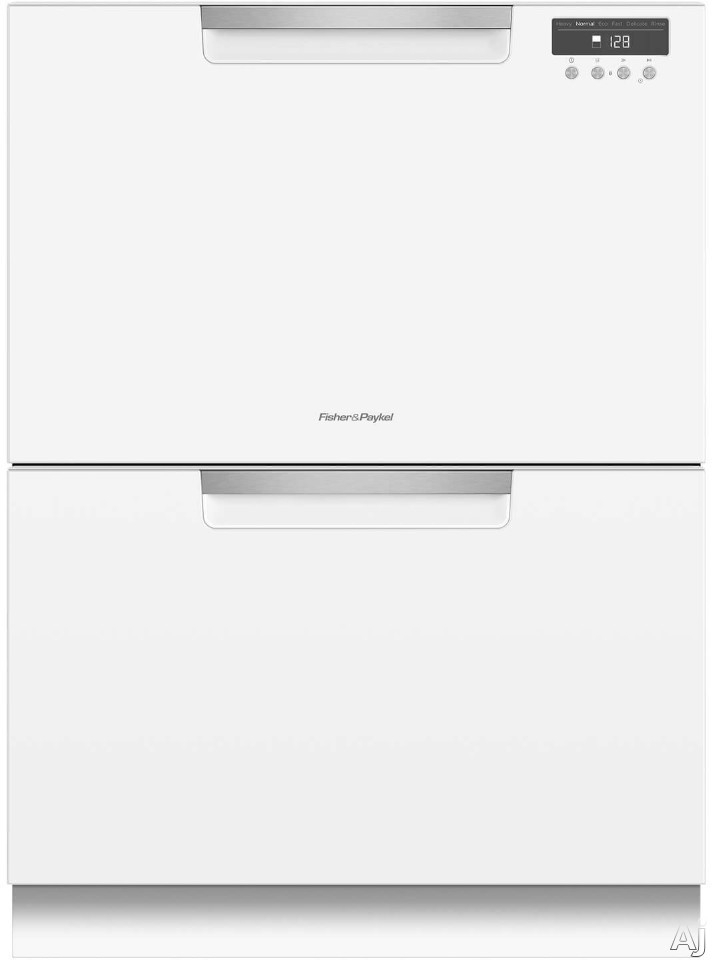 Fisher Paykel DishDrawer Series DD24DCTW9 Full Console Double DishDrawer with 14 Place Setting Capacity 15 Wash Cycles 3 Wash Modifiers 6 Wash Programs Sanitize Cutlery Basket Child Lock Silence Ratin