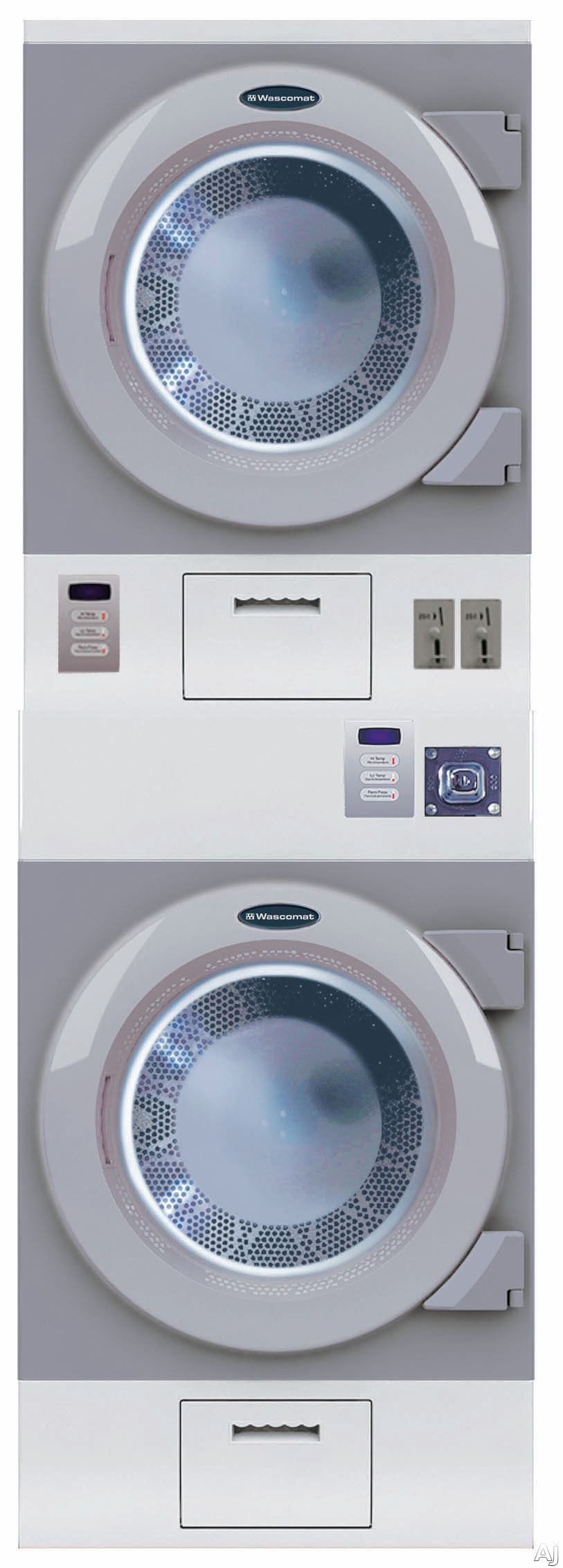 Crossover DAWS2EM 27 Inch Stacked Commercial Electric Dryers with 75 cu ft Capacity Each 50 RPM Tumbling Speed Axial Airflow and ADA Compliance Metered with Coin Box