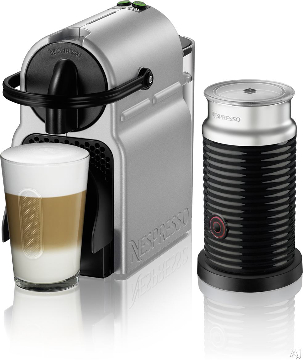 Nespresso Original Line EN80SAE Inissia Espresso Machine and Milk Frother with 2 One Touch Presets, Fast Preheat, Auto Power-off, 16 Nespresso Capsule Tasting Pack, Folding Drip Tray, Auto Volume Cont