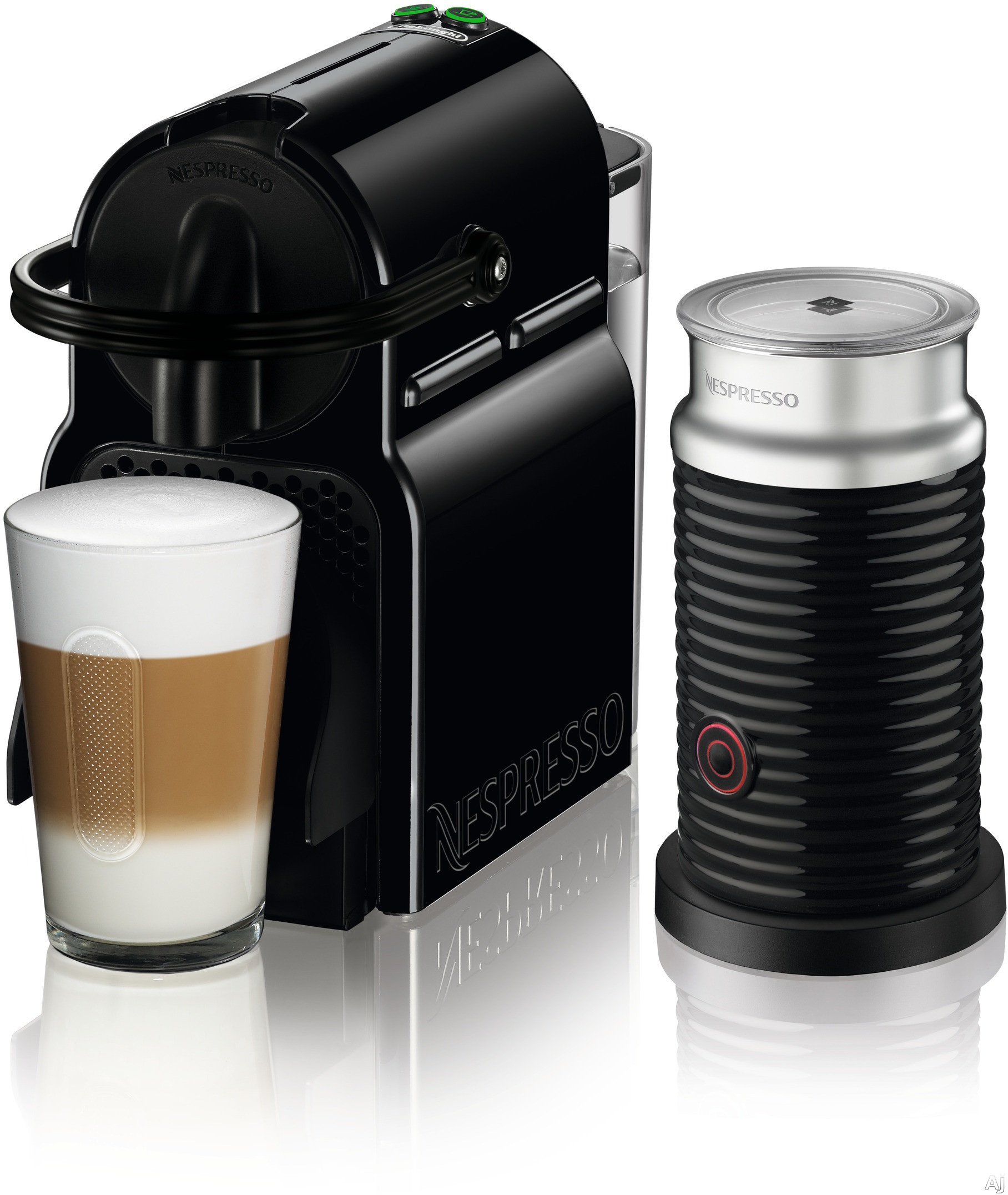Nespresso Original Line EN80BAE Inissia Espresso Machine and Milk Frother with 2 One Touch Presets, Fast Preheat, Auto Power-off, 16 Nespresso Capsule Tasting Pack, Folding Drip Tray, Auto Volume Cont