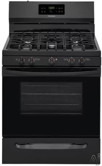 """Frigidaire FFGF3054TB 30 Inch Freestanding Gas Range with Simmer Burner, Quick Boil, Store-Moreâ""""¢ Drawer, One-Touch Self-Clean, Continuous Grates, 5 Sealed Burner and 5 cu. ft.: Black"""