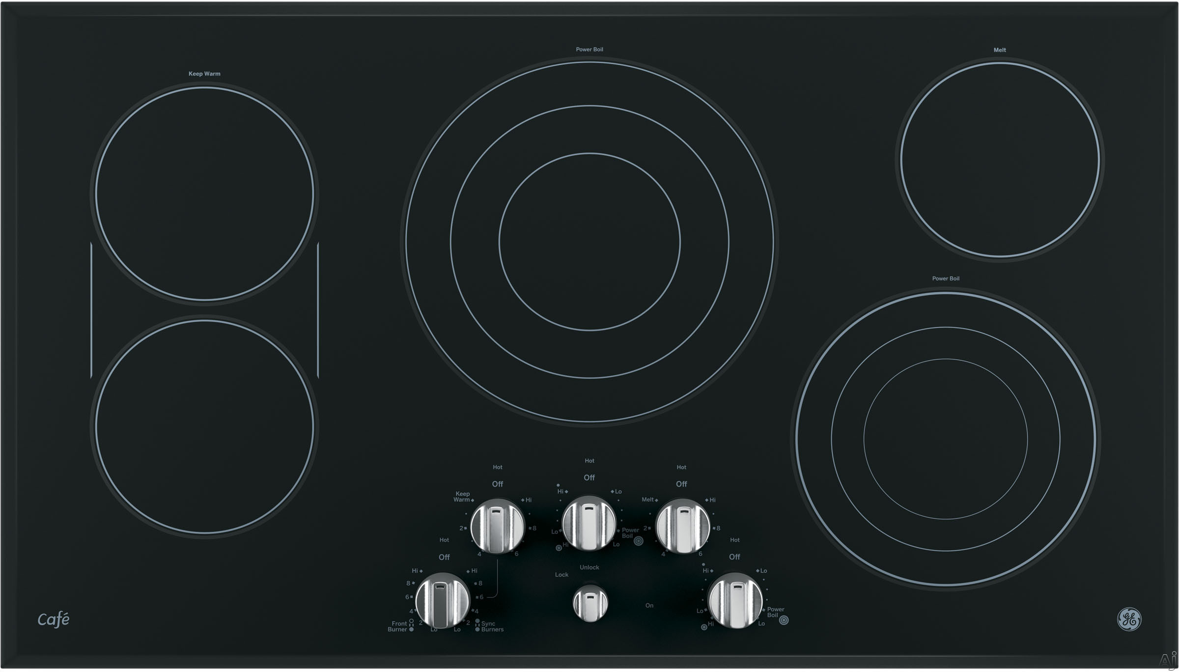 GE Cafe Series CP9536SJSS 36 Inch Smoothtop Electric Cooktop with 5 Cooking Zones, SyncBurners, Griddle, Blue/Red Touch Sensor Controls, Control Lock, All-Off Feature, Hot Surface Indicator Light, ADA