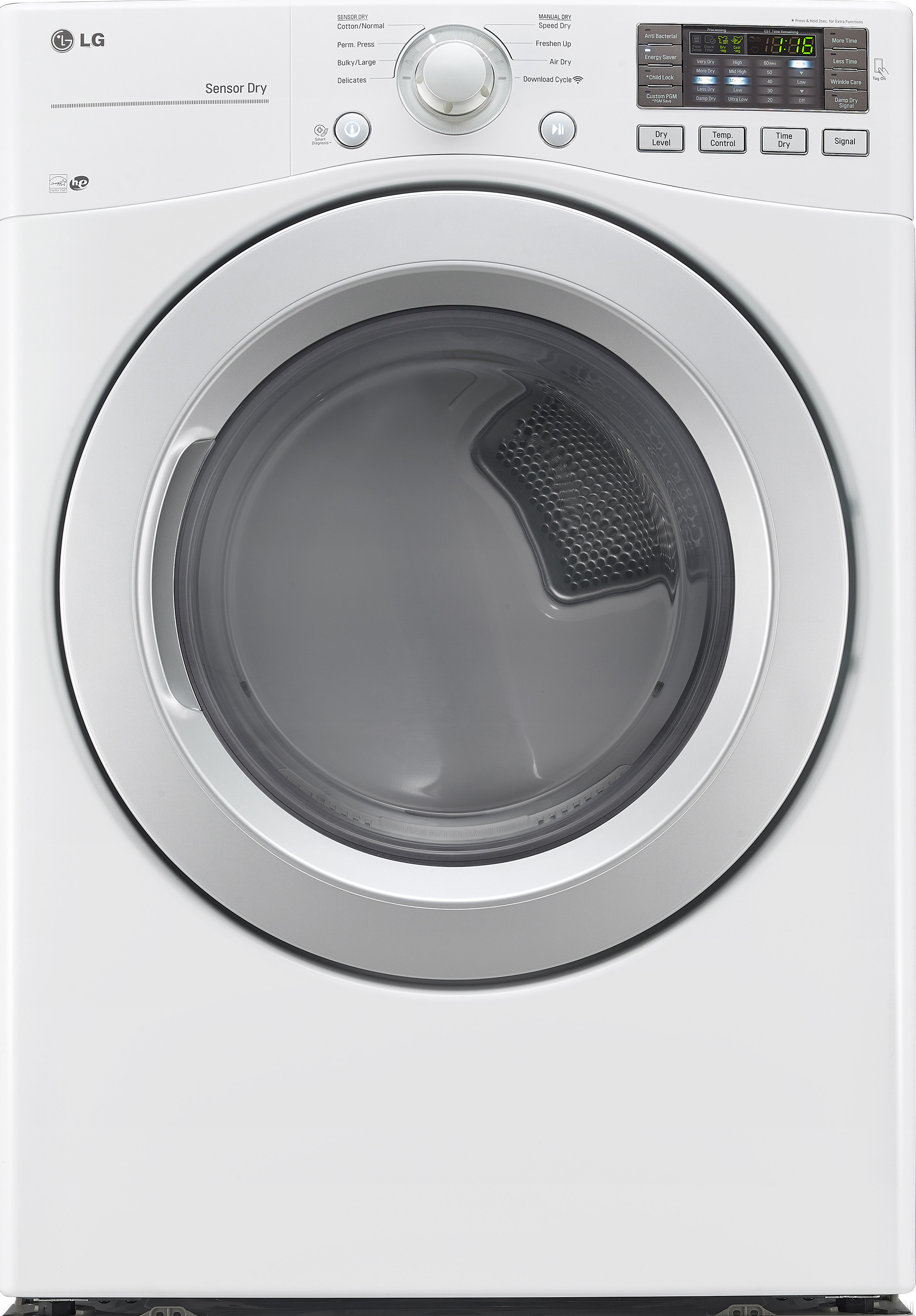 LG DLE3170W 27 Inch Electric Dryer with Wrinkle Care Sensor Dry NFC Tag On Anti Bacterial Cycle Speed Dry 8 Drying Programs Smart Diagnosis LoDecibel Quiet Operation ENERGY STAR and 7.4 cu. ft. Capaci