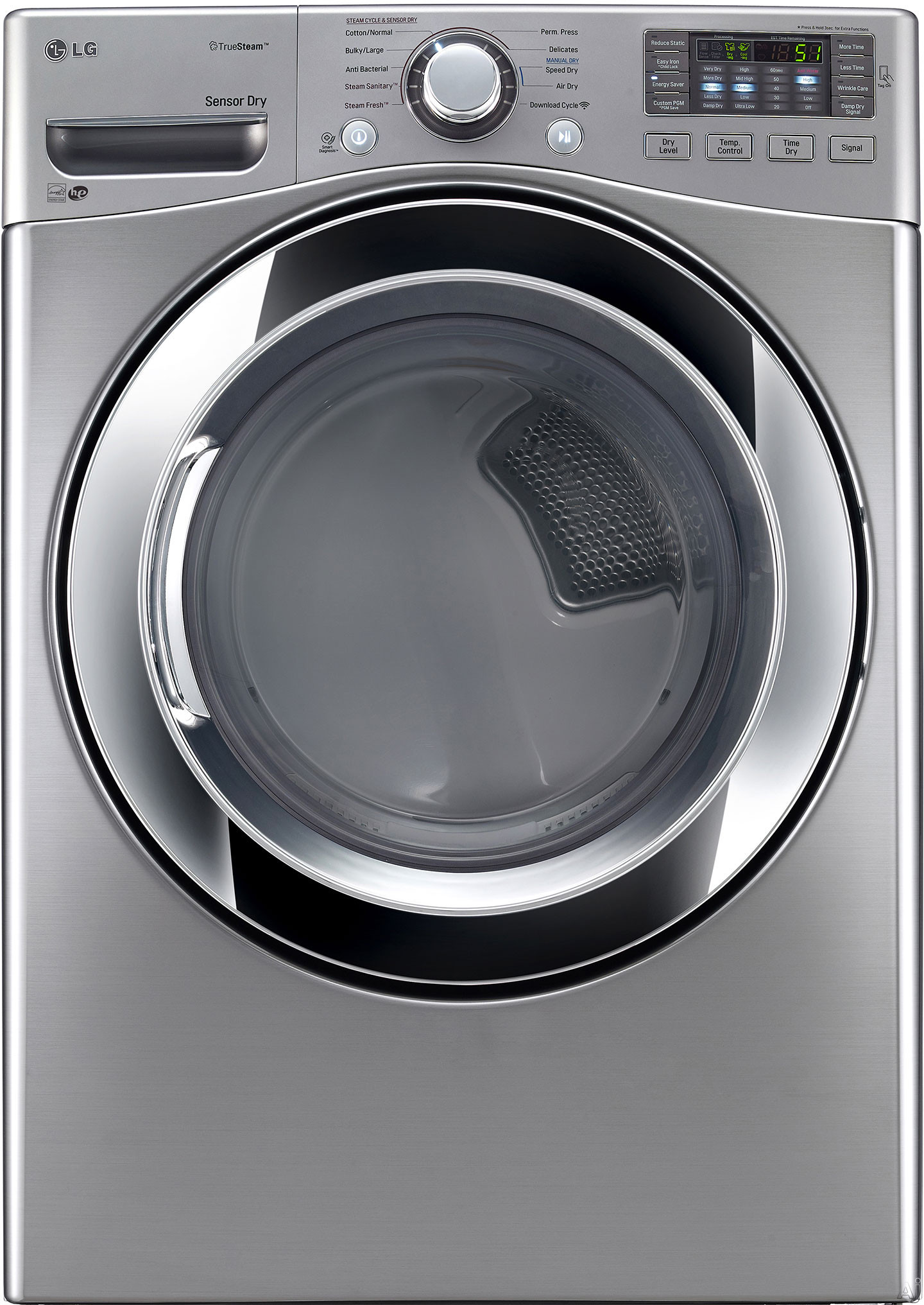 LG DLEX3370V 27 Inch Electric Dryer with TrueSteam Sensor Dry Wrinkle Care Speed Dry 10 Drying Cycles 5 Temperature Settings Smart Diagnosis LoDecibel Quiet Operation ENERGY STAR Stacking Capability L
